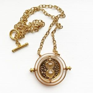 Gold Harry Potter Time Turner hourglass necklace